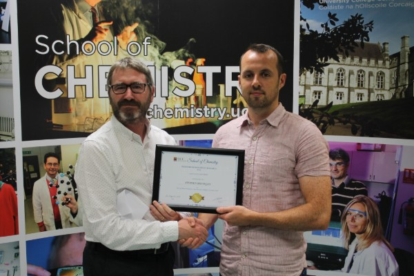 Tyndall PhD student Stephen Rhatigan is the winner of this year's School of Chemistry (UCC) postgraduate prize