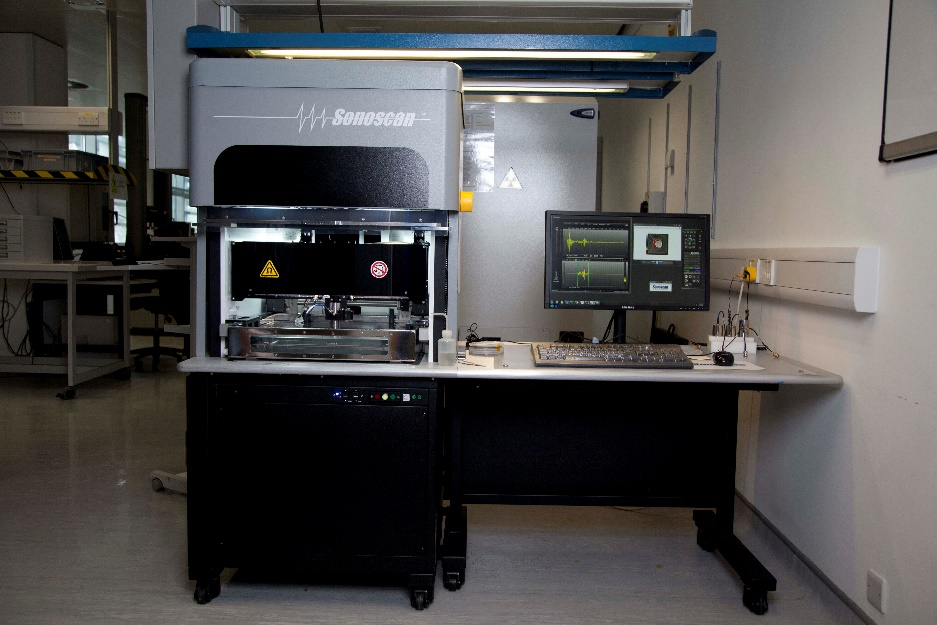 Tyndall's Sonoscan D9000 Scanning Acoustic Microscopy system